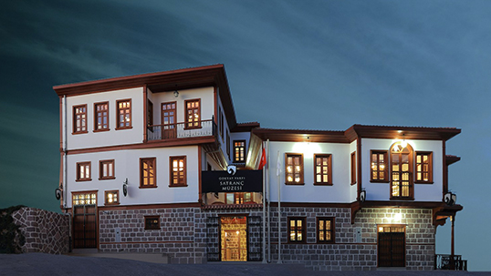 Exterior view from the Chess Museum designed in a historic Ankara house plan