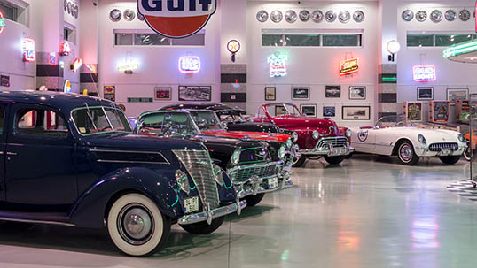 General view from the museum's American Cars section