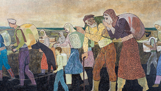 Nuri İyem, Migration, 1955, 200x100 cm, oil on canvas